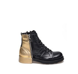 Frank<br />Women's desert boot in leather and gold laminate coated cotton