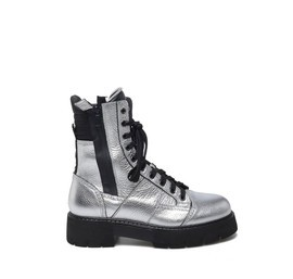 Women's Amtrac<br />heeled laminated silver calfskin boots