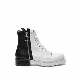 John leather and cotton half boot with zip