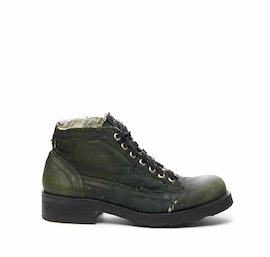 Frank in coated military green fabric