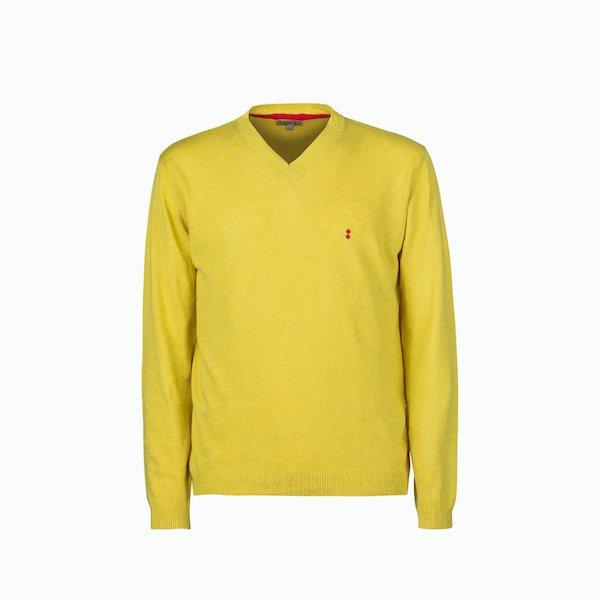 Men's sweater C203 mixed linen V-neck