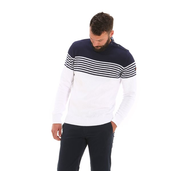 E36 men's cotton jumper with buttons on the shoulder