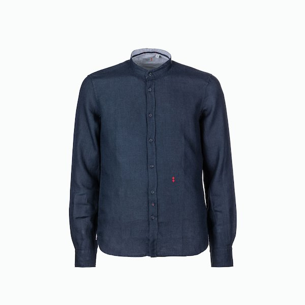 C17 men's shirt in linen with mandarin collar