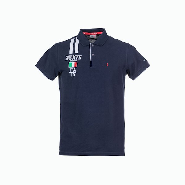 Men's Polo C117 with embroidery and Ita flag on the chest