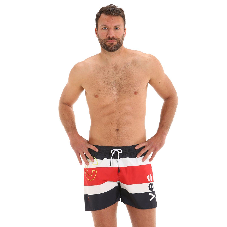 G167 men's swim trunks with elastic drawstring - Navy / Red / White