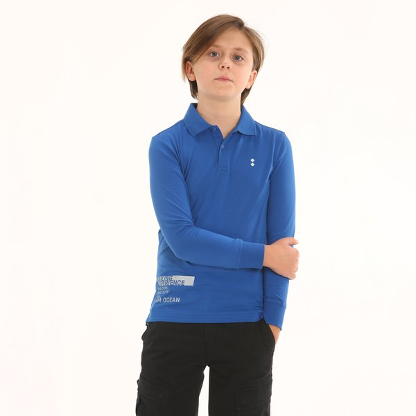Junior polo shirt F352 long-sleeve in stretch cotton