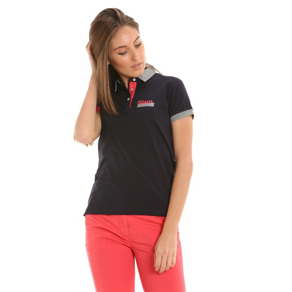 Women's polo shirt E254 with three buttons and short sleeves