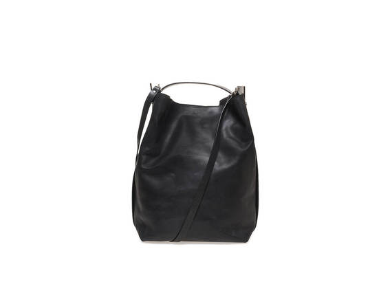 Bucket bag with metallic side bands