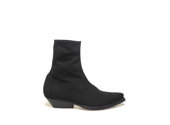 Stretch stocking ankle boot.