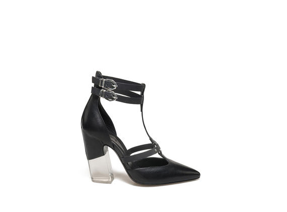 Decollété with straps and plexi heel