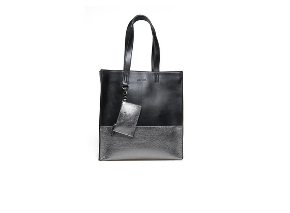 Two-tone metallic gun-metal shopping bag