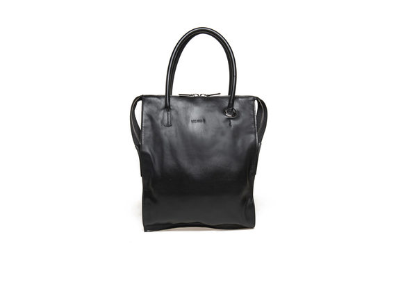 Black neoprene shopping bag with maxi eyelet