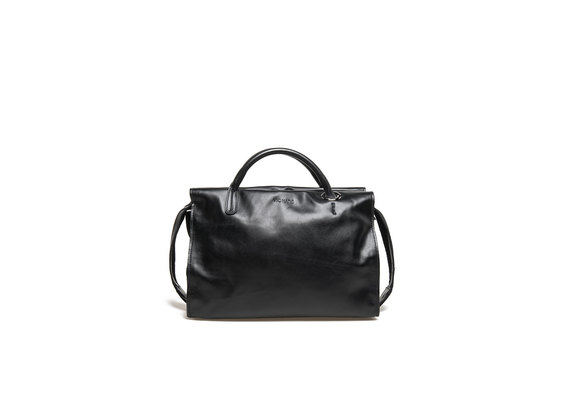 Black bowler bag with maxi eyelet