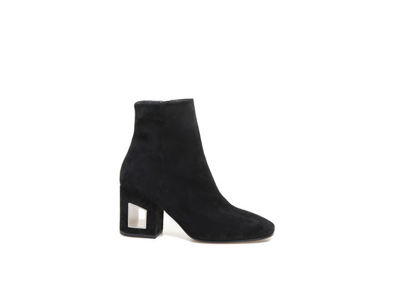 Black leather ankle boot with perforated heel
