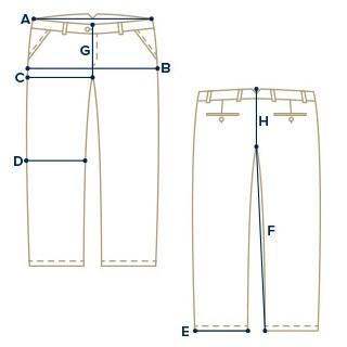 guida taglie pantaloni chinos