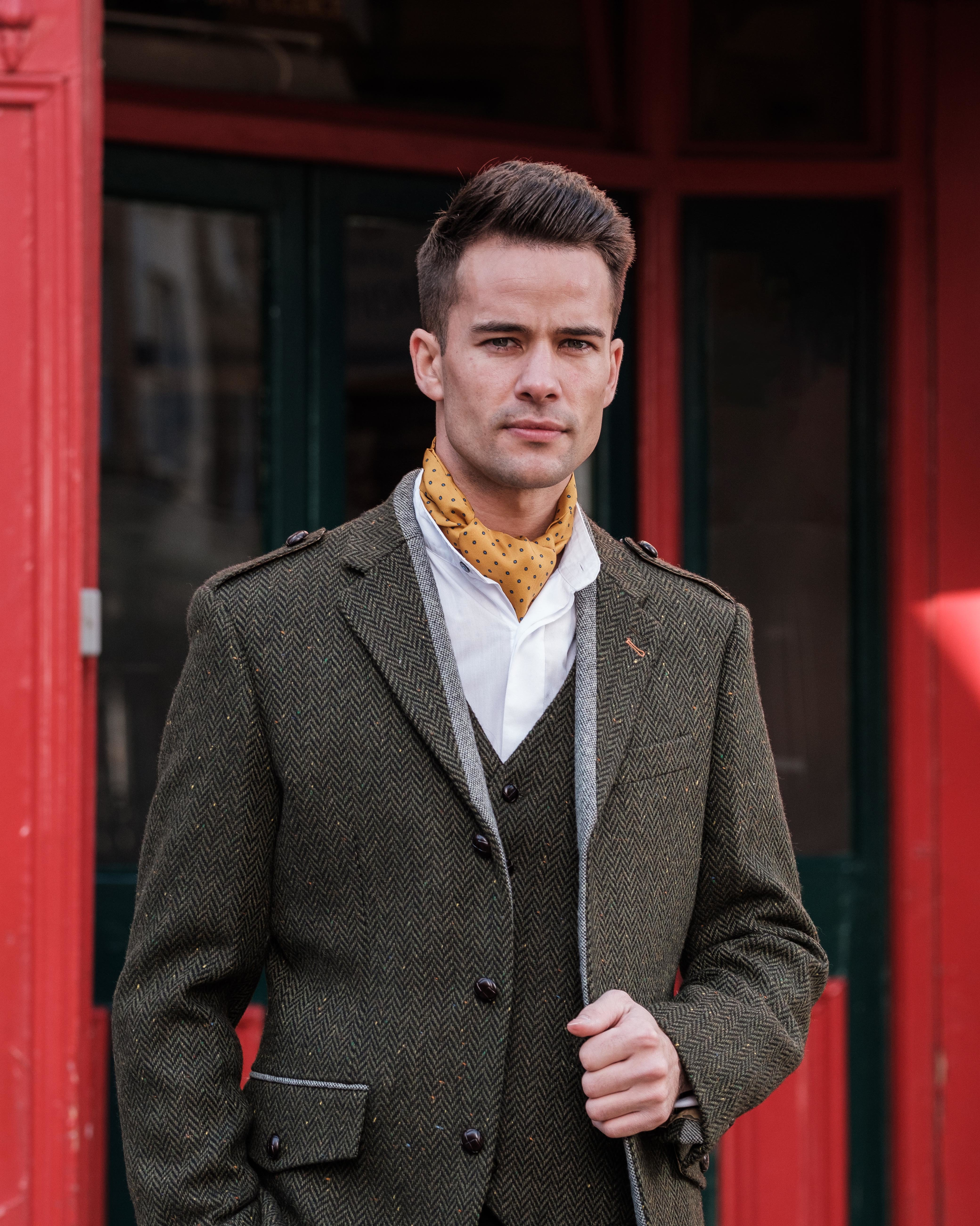 Pearse Green Herringbone Tweed Jacket Heritage Styling