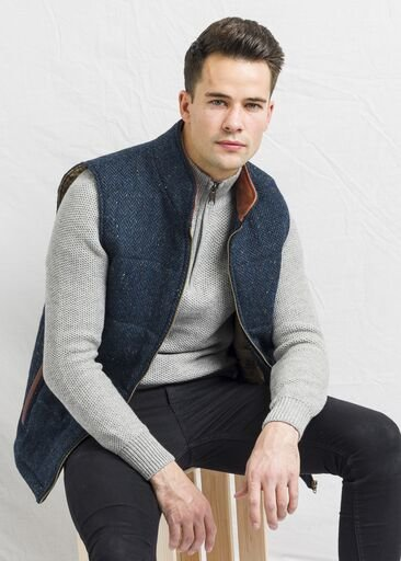 Men's Blue Tweed Body Warmer and Gilet with Leather Trims