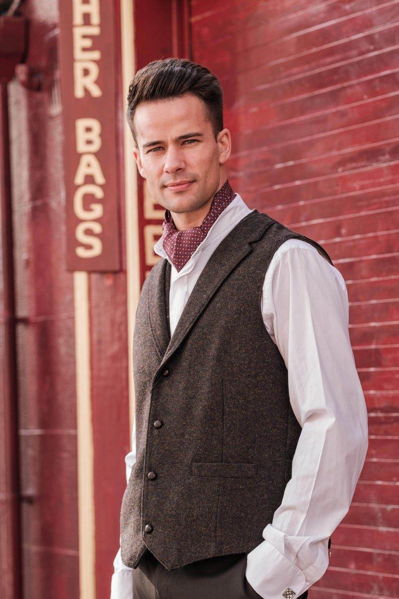 O Ceallaigh Peat Colour Irish Tweed Waistcoat With Revere