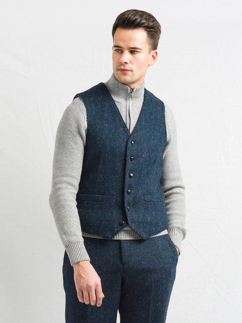W B Yeats Blue Irish Tweed Waistcoat