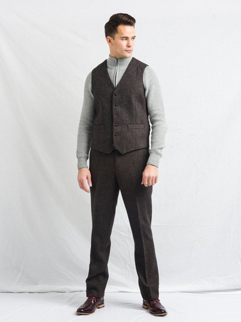 Oscar Wilde Brown Tweed Waistcoat