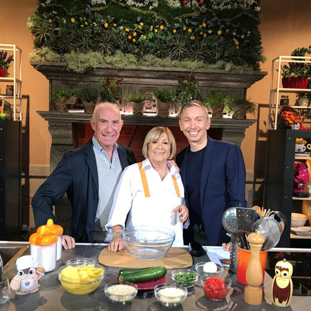 GIANLUCA MECH AT ITALIAN RICETTE ALL'ITALIANA COOKING TV SHOW WITH DAVIDE MENGACCI AND ANNA MORONI.
