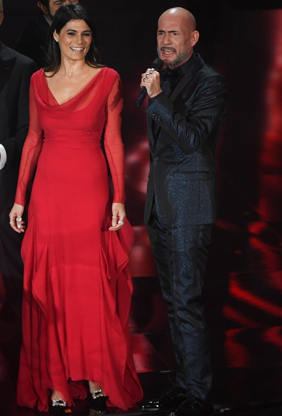 Valeria Solarino in Blumarine at the 2018 Sanremo Music Festival