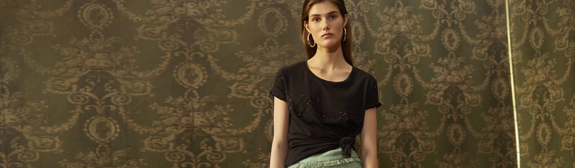 f2b4aeef37 In the spring/summer 2019 collection the T-shirts express the glamorous  side of casual: dainty embroidery work, floral prints and the logo as a  proud style ...
