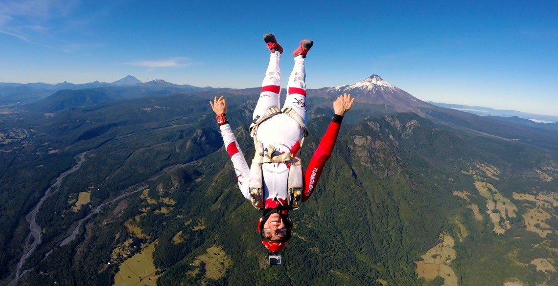 Skydiving next to stunning active volcano by Roberta Mancino