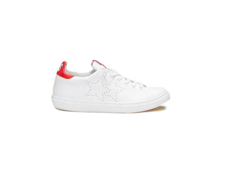 WHITE AND RED LOW SNEAKERS