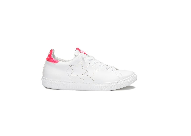 WHITE AND FUCHSIA FLUO LOW SNEAKERS