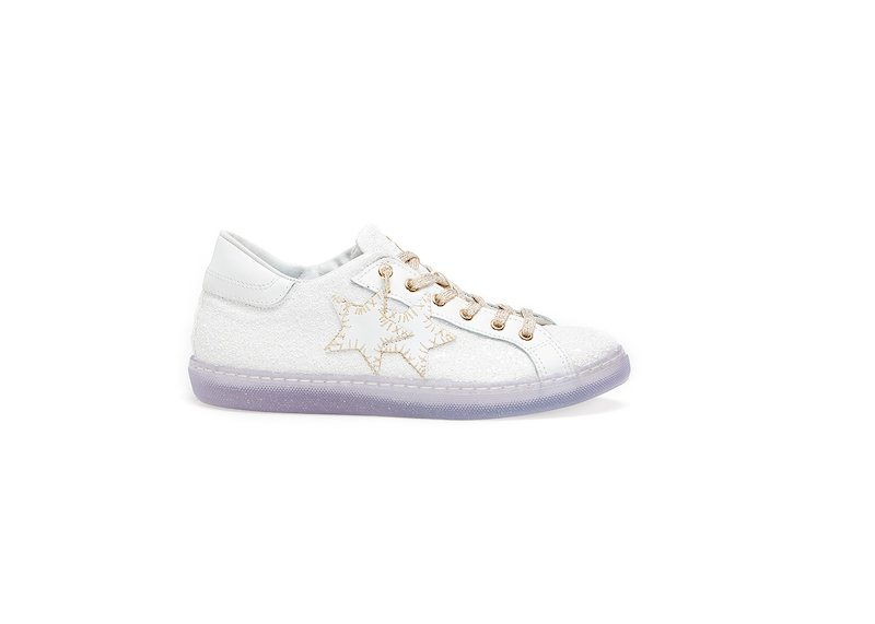 WHITE-GOLD LOW SNEAKERS