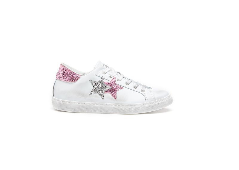 WHITE-SILVER-PINK LOW SNEAKERS
