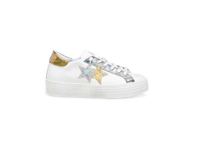 HS WHITE-GOLD-SILVER LOW SNEAKERS