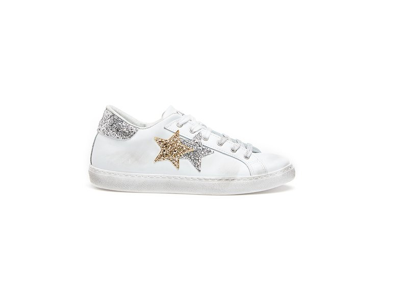 WHITE-SILVER-GOLD LOW SNEAKERS