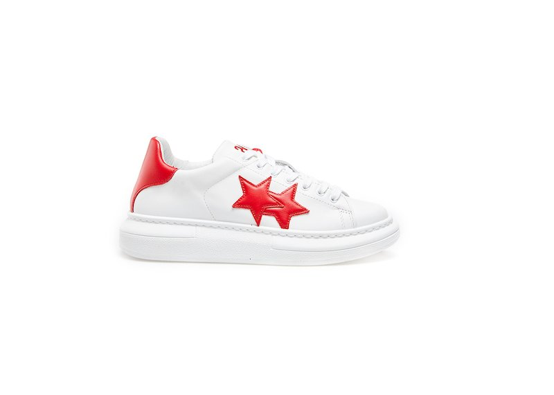 WHITE-RED LOW SNEAKERS