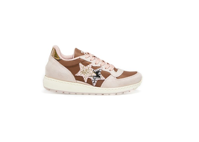 SNEAKER LOW MARRONE-ROSA