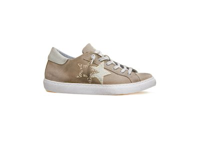 SNEAKER LOW TAUPE-BIANCO