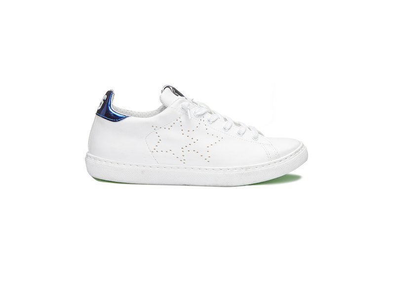 WHITE AND BLUE LAME' LOW SNEAKERS
