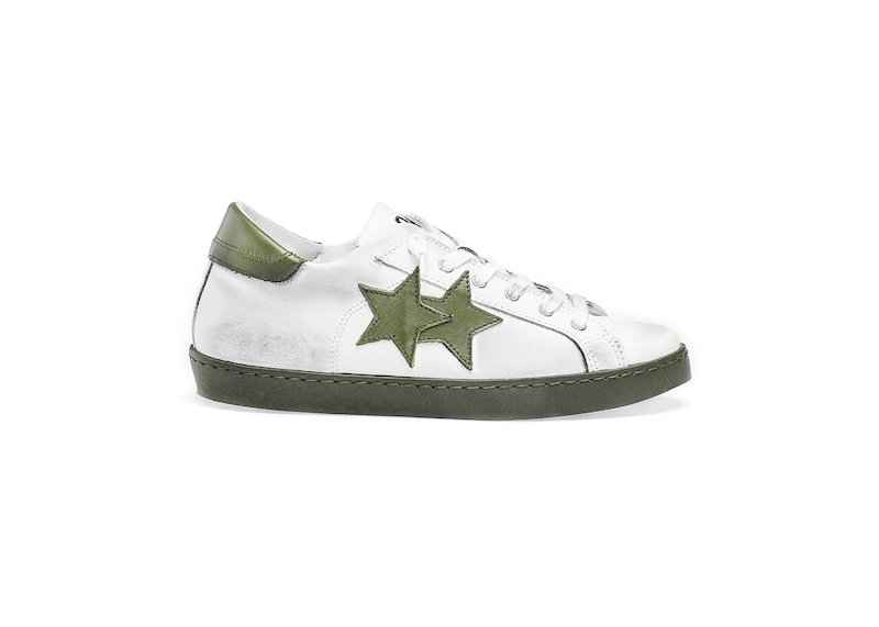 WHITE-GREEN LOW SNEAKERS