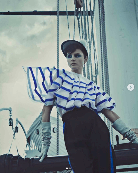 The 'Belle Buoys' shoot in this weekend's FT How to Spend Itfeaturing my 'Montserrat' shoulder length gloves.