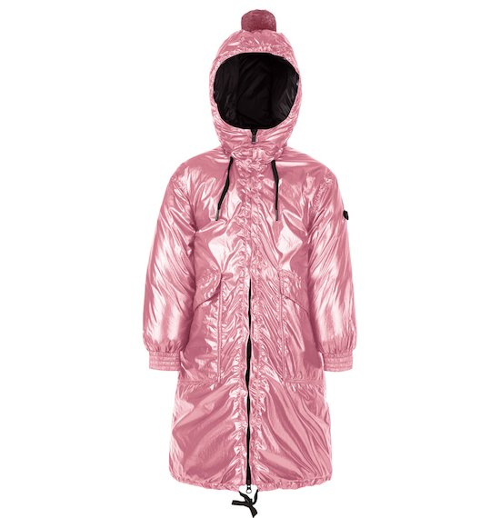 Parka Largo en Nylon Brillante