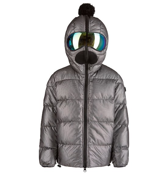 Down jacket with silver coating mirrored lenses