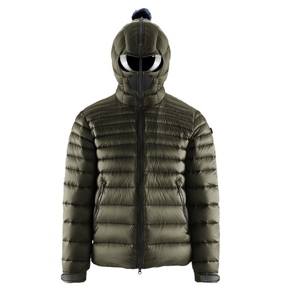 Man's and Woman's jacket and down jackets with glasses