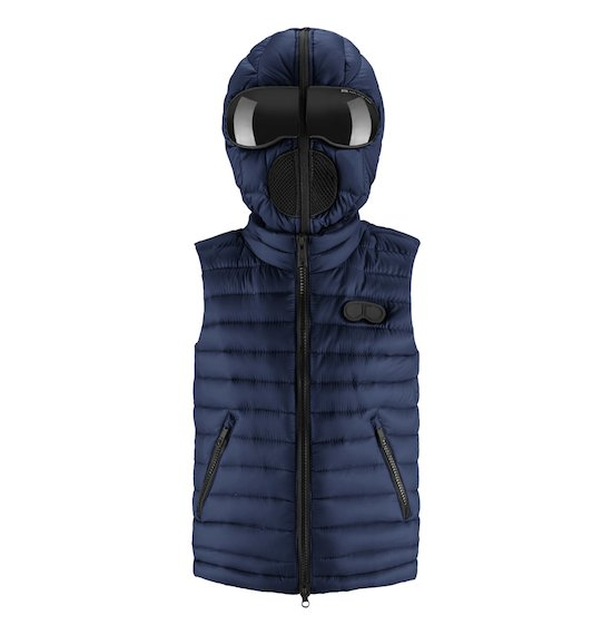 Unisex down vest with hood