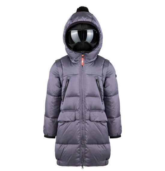 Long Girl's Down Jacket in Ripstop Nylon