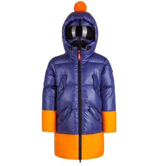 Boy's down jacket in nylon crystal chintz with print