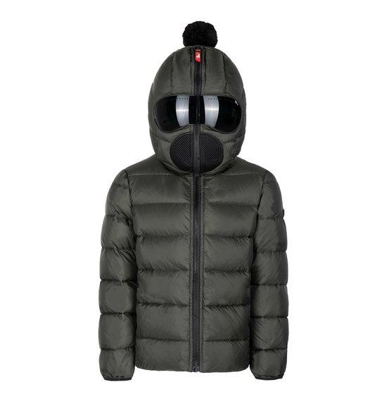 Boy's jacket in nylon micro-ripstop with mirrored goggles