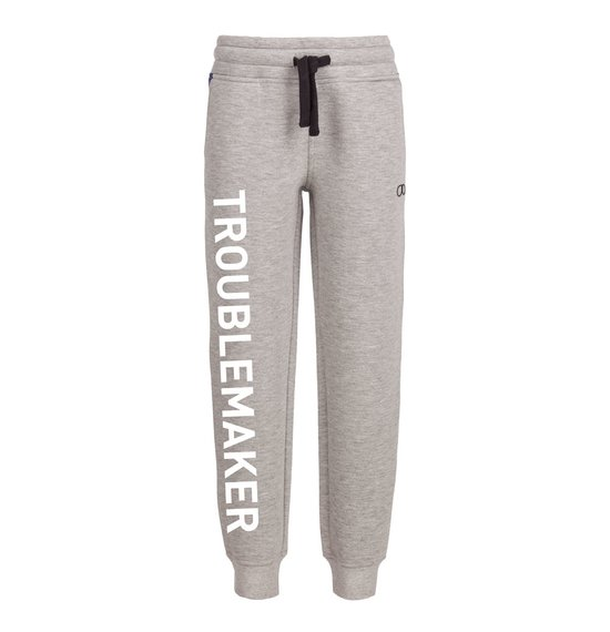 Boy's trousers in spacer piquet fleece with lettering printing