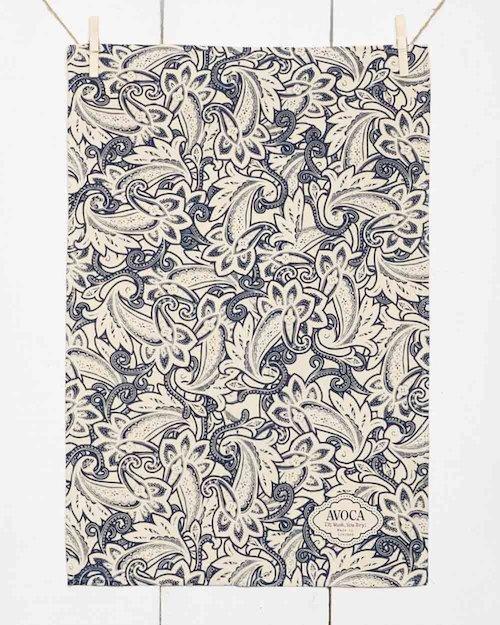 Navy Paisley Tea Towel