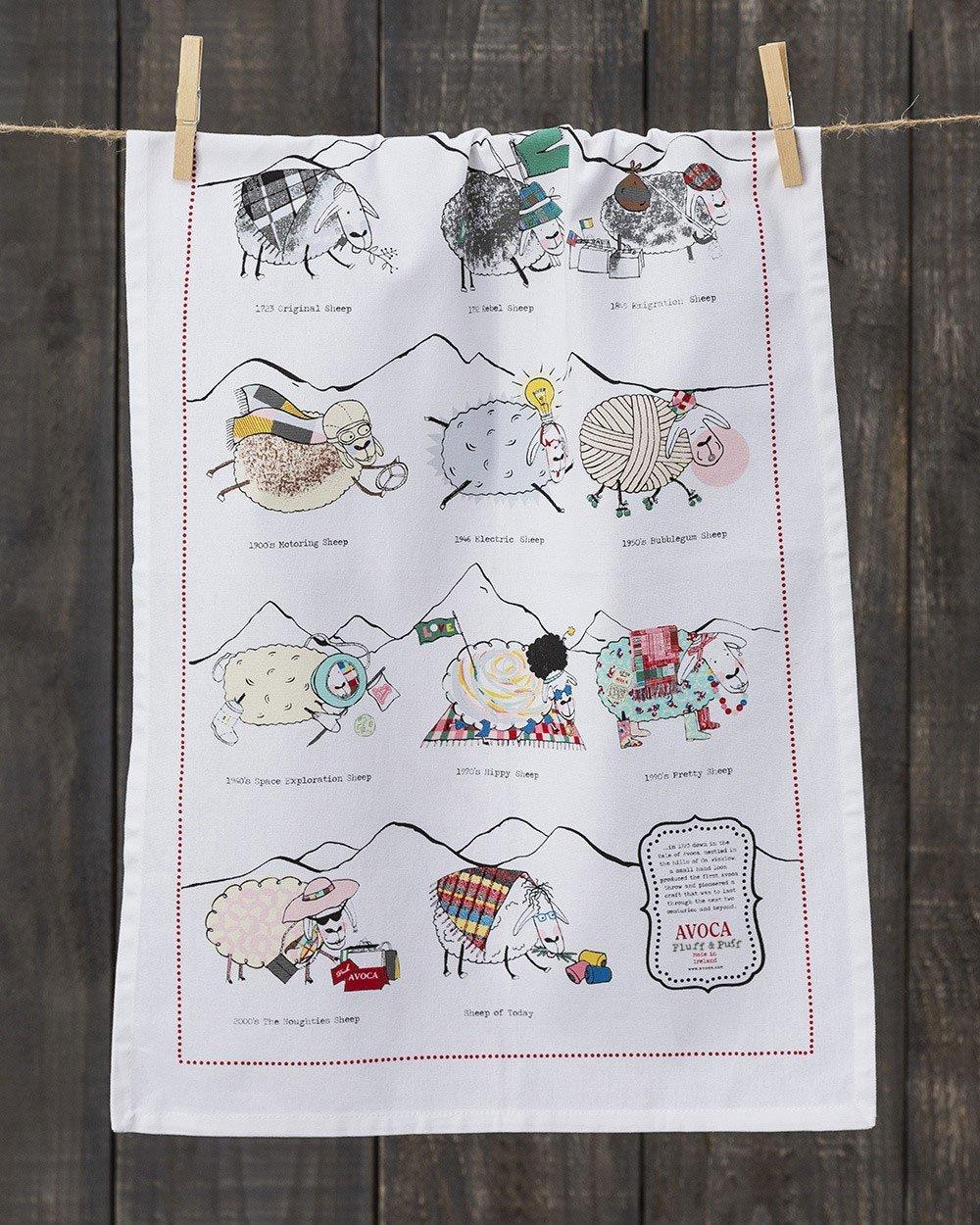Sheep Through the Ages Tea Towel